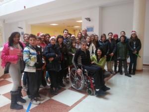 Marcello Osler con i ragazzi della 1F delle scuole medie Garbari